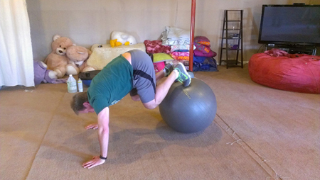Another example of a client working with a Core Fitness and Nutrition in-home personal trainer.